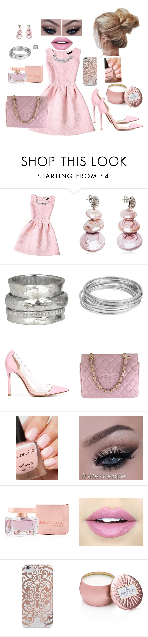 """It's a Pink Day for me!"" by sherrysrosecottage-1 ❤ liked on Polyvore featuring Antica Murrina, MeditationRings, Worthington, Gianvito Rossi, Chanel, Dolce&Gabbana, Fiebiger, Nanette Lepore and Voluspa"