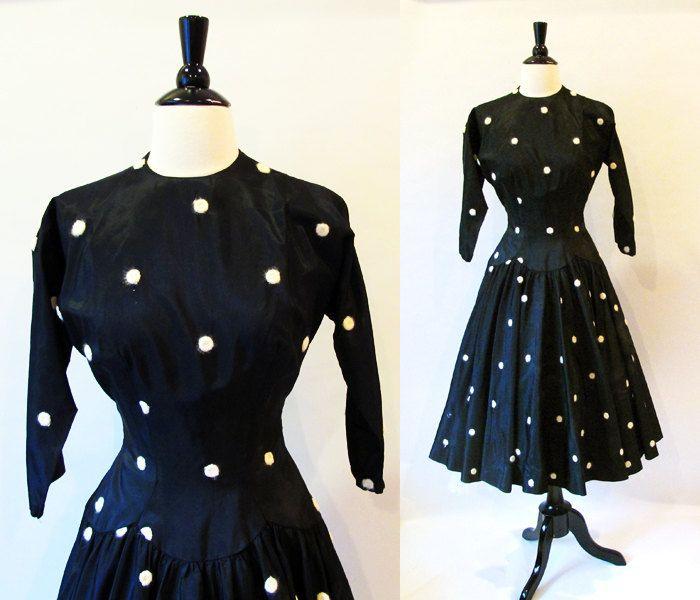 50s Polka Dot Vintage dress / Black 1950 Drop Waist  Tea Length Dress /  1950s Fashion /  Swing I Love Lucy Dress. $110.00, via Etsy.