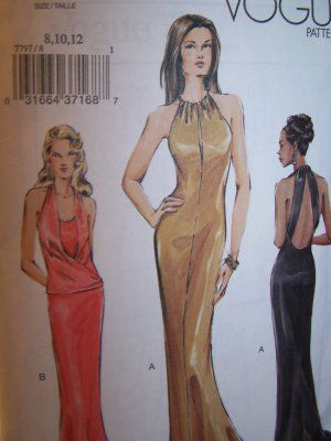 Vogue 7797 Evening Gown, Bias Cut Halter Top Sewing Pattern | Sew ...