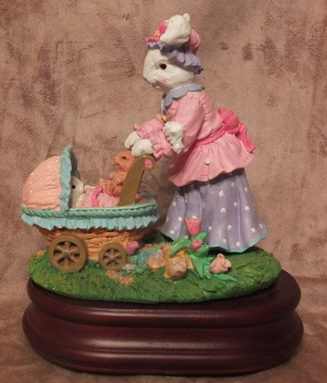 Bunny Mama and Baby Tabletop Music Box by MoonbearConnections