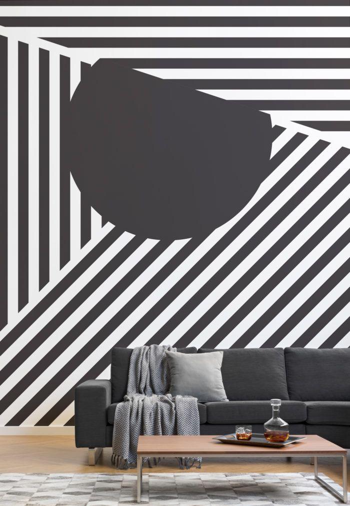 Carta Da Parati Mimetica.Oriz Geometric Black And White Wall Mural Bella Vita Nel 2019