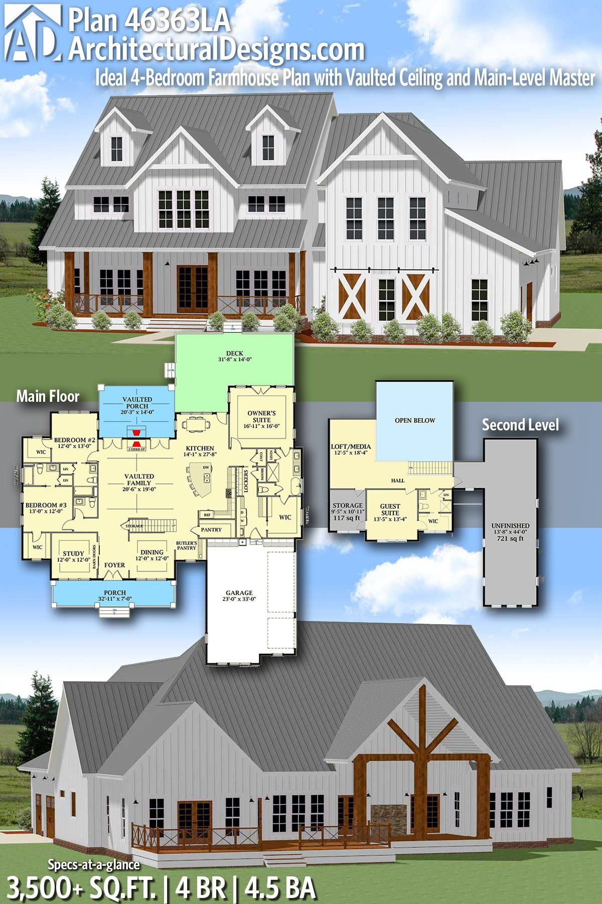 Plan 46363la Ideal 4 Bedroom Farmhouse Plan With Vaulted Ceiling And Main Level Master Farmhouse Plans Dream House Plans New House Plans