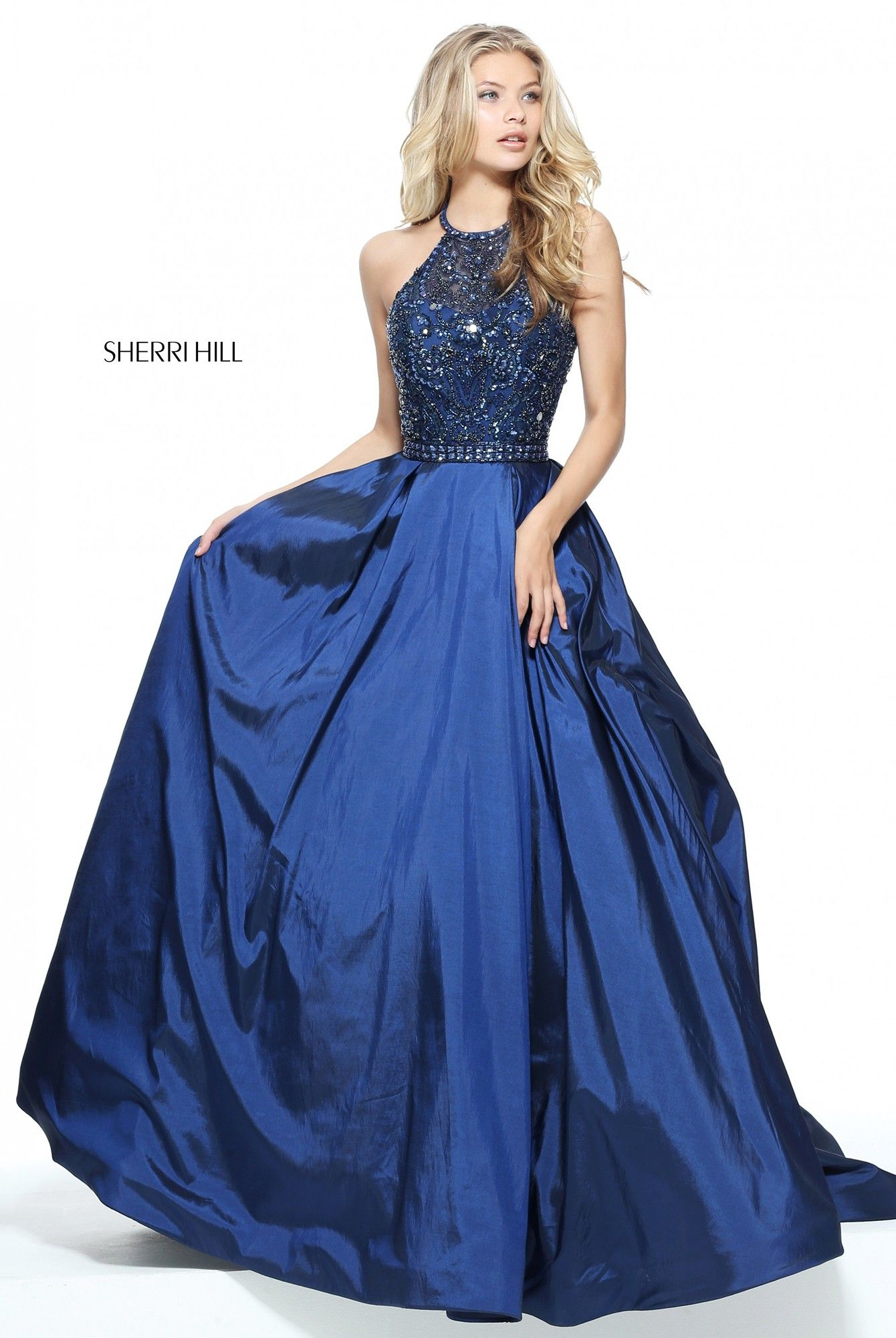 0f96da04d0 This luminous ball gown will bring all eyes on you. The dazzling bodice  features a high halter illusion neckline