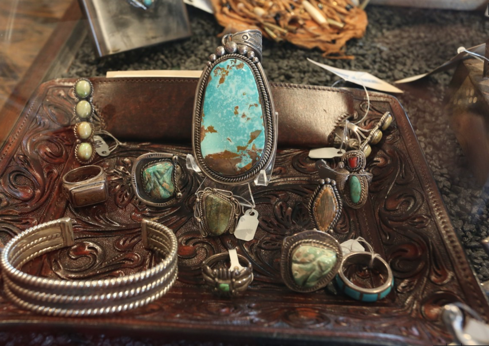 Turquoise and silver jewelry at Boot Star