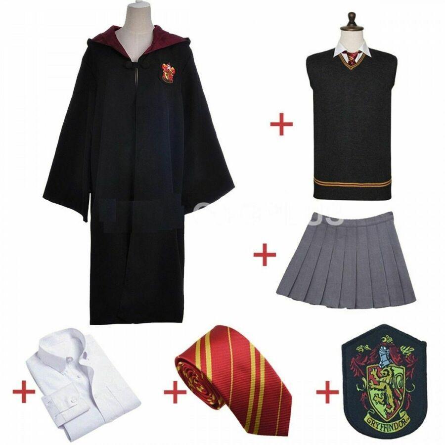 Kid/& Adult Hermione Granger Cosplay Costume Gryffindor Uniform Wig Magic wand