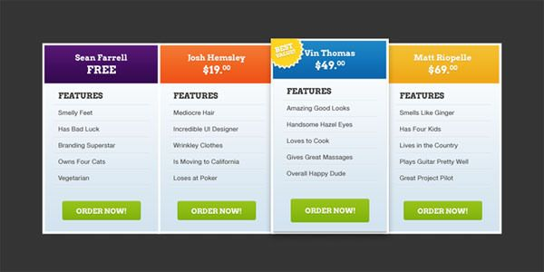 Free Pricing Table Psd Templates  Smashfreakz  Stuff To Buy