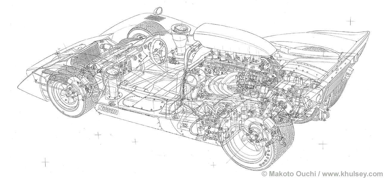 1969 nissan r382 cutaway by makoto ouchi