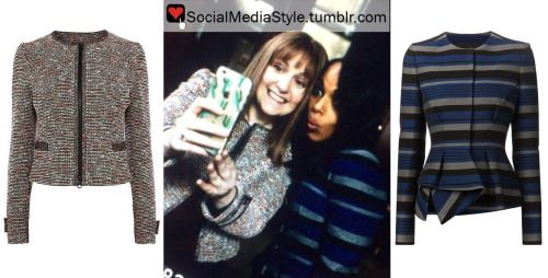 "Buy Lena Dunham's Tweed Jacket and Kerry Washington's Striped Peplum Jacket from ""Scandal"" here!"