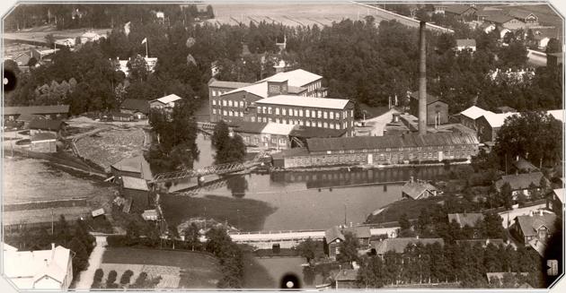 Ilmakuva Forssasta 1927. Vasemmassa alanurkassa Kuhalan koulu, oikeassa alanurkassa Tölöntie, jossa Helvi asui.