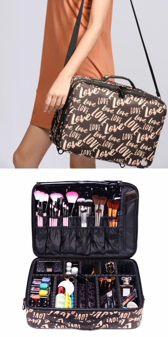 Brown Love Makeup Bag   Large makeup bag, Professional ...