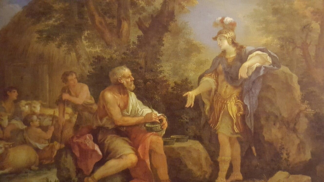 """FILIPPO LAURI ( Rome 1623 - 1694). ERMINIA AND THE SHEPHERDS. oil on copper. 30,5 × 40,5 cm. Signed: """" F. L. """" lower right and """" Lauro """" on reverse. Burghley House. Inv. no. 143."""