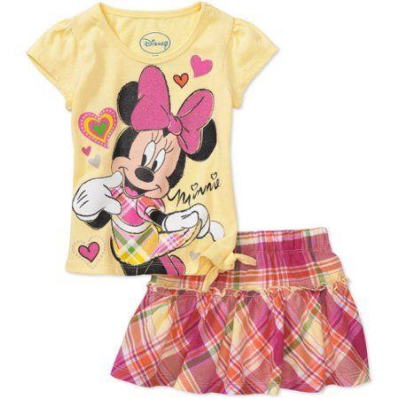 Disney - Baby Girls' 2-Piece Minnie Tee and Plaid Skirt Set, Yellow