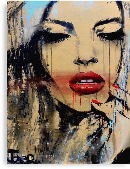 Impression sur toile 'brillant' par Loui Jover   Portrait abstrait, Peinture yeux, Peinture