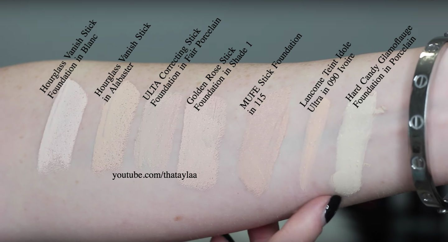 30 Palest Shades Of Different Foundations Swatched Stick