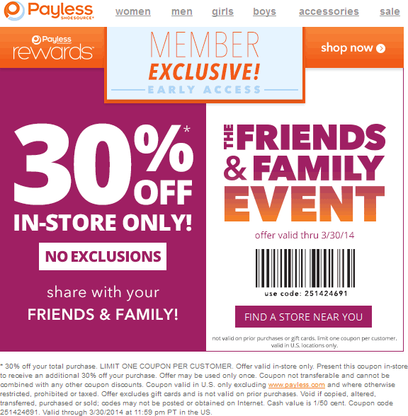 picture about Payless Printable Coupons identified as Pinned March 27th: 30% off at Payless #Shoesource #coupon
