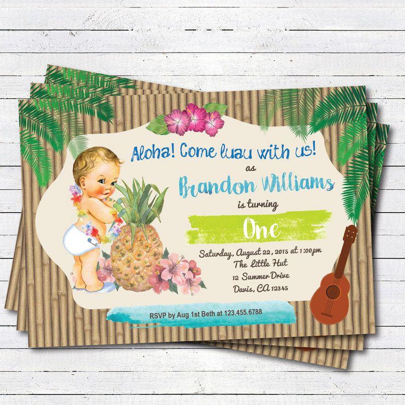 Hawaiian Luau boy 1st first birthday invitation. Vintage baby Summer ...