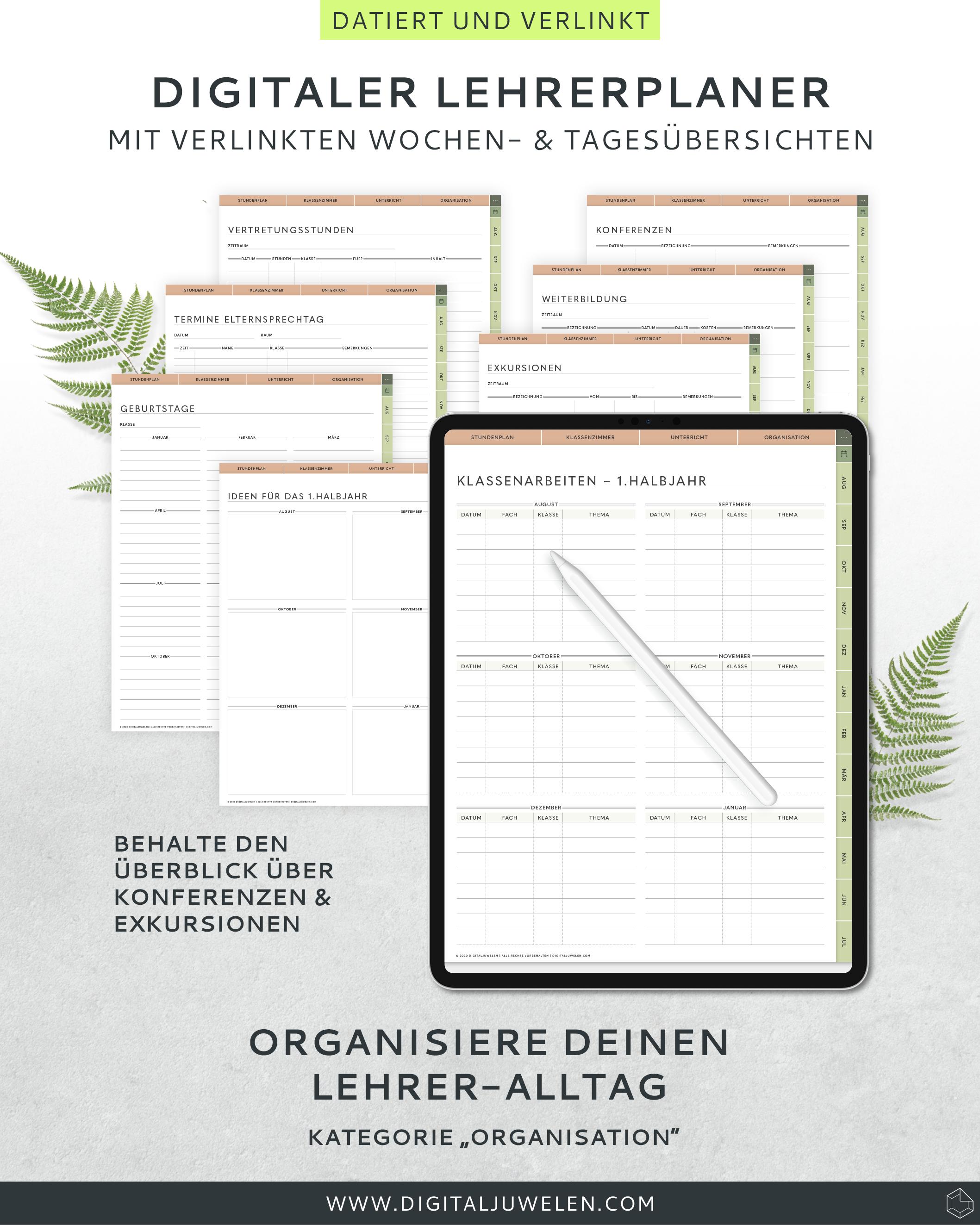 Digitaler Lehrerplaner Deutsch 2020 2021 Digitaler Lehrerkalender 2020 2021 In 2020 Bullet Journal Journal Notebook