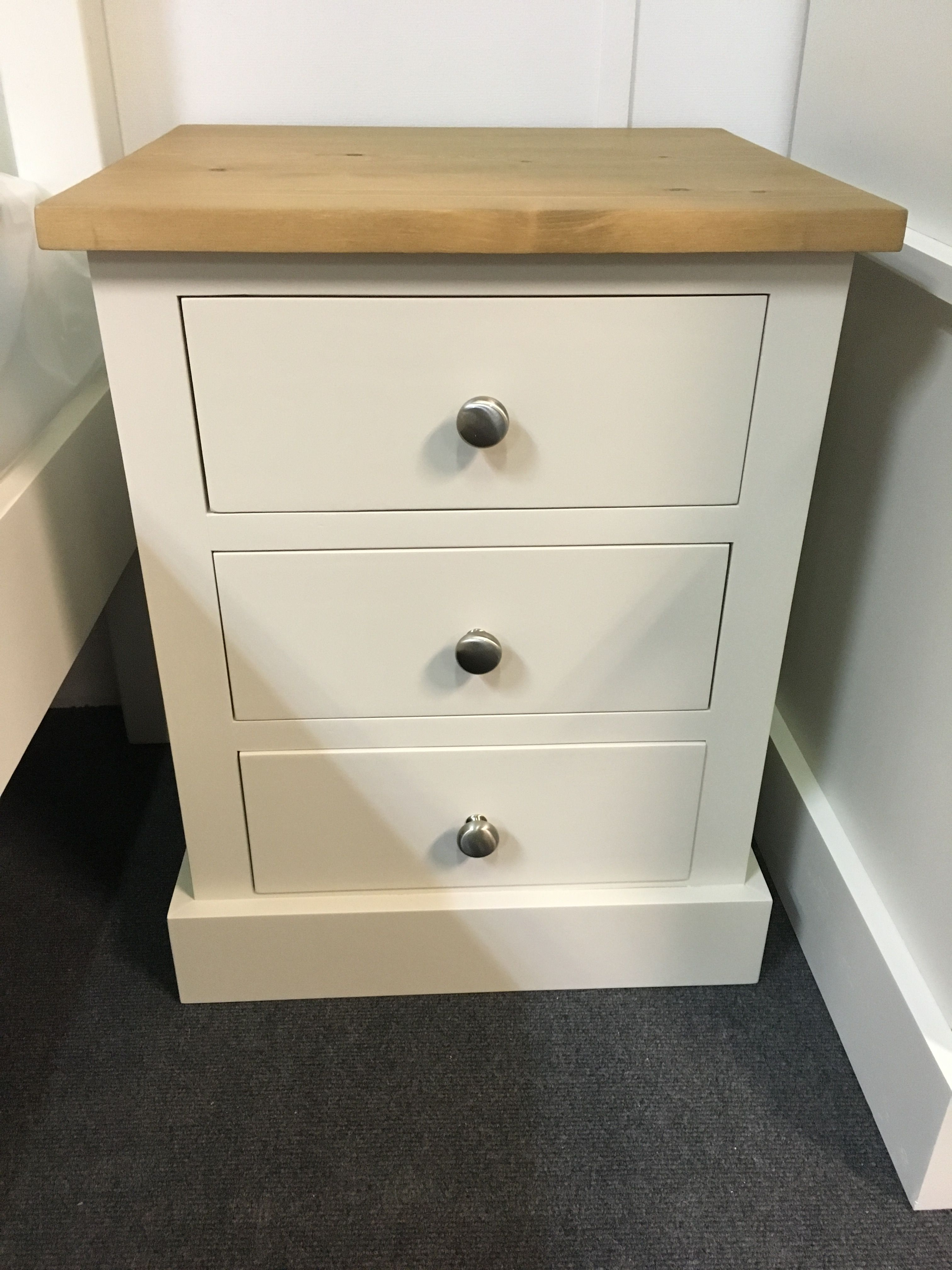 3 Drawer Bedside Table Painted In F B Skimming Stone With A Pine Top Cobwebs Furniture Company Affordable Furniture Stores Top Furniture Furniture Companies