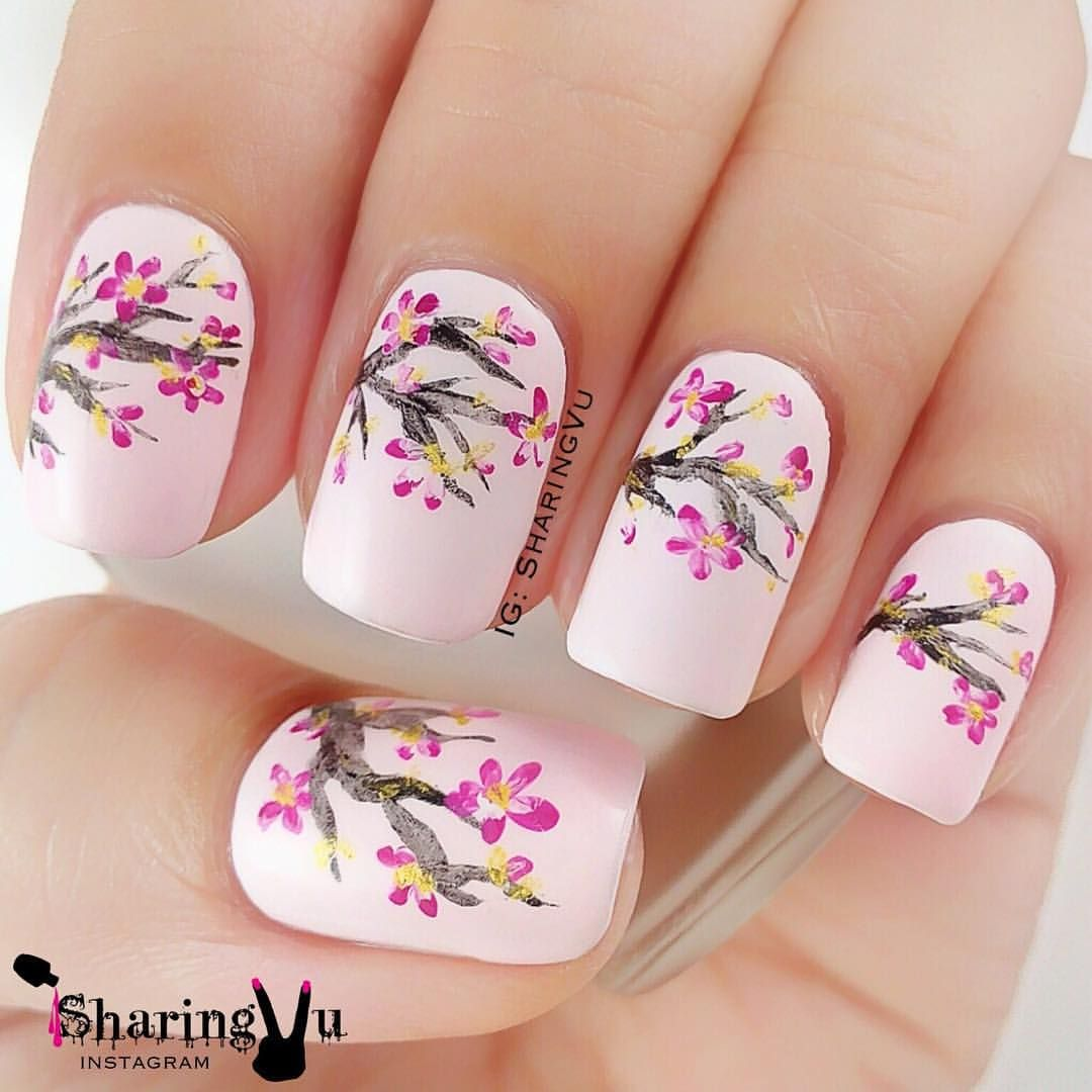 Pink Cherry Blossom Nails