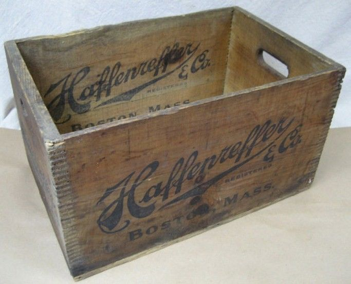 vintage haffenreffer beer wood box crate 6 side logo 1928