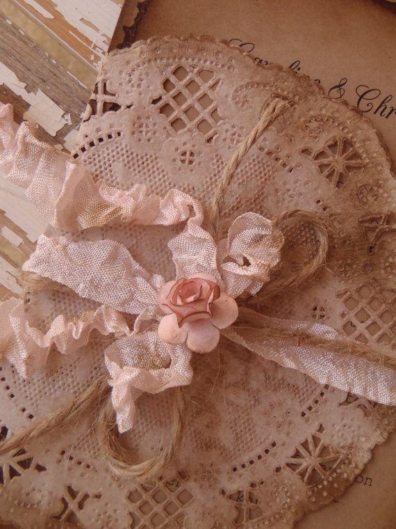 Woodland, Boho, Hippie, Rustic Pink Rose Wedding Invitation, Barn, Farmhouse, Garden, Shabby Lace Doily, Crinkkled Ribbon, Jute