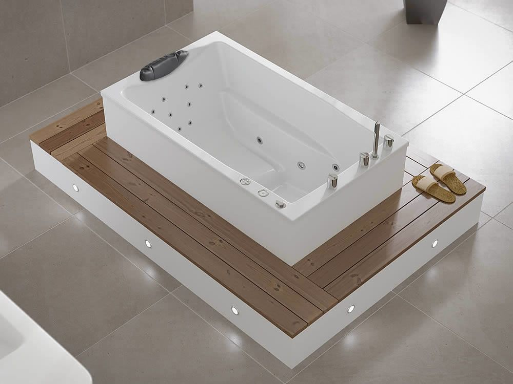 The Yasahiro deep soaking tub, seen from above and shwoing its ...