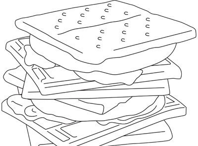 S Mores Coloring Sheet