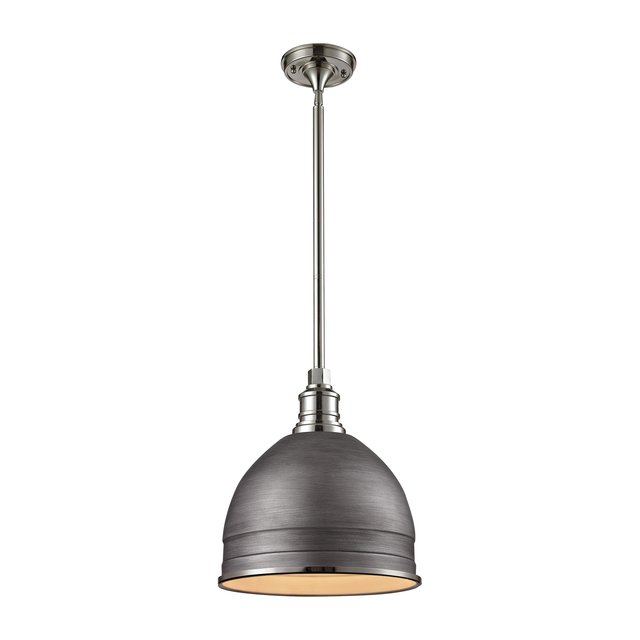 1 Light Carolton Pendant in Weathered Zinc and Polished Nickel