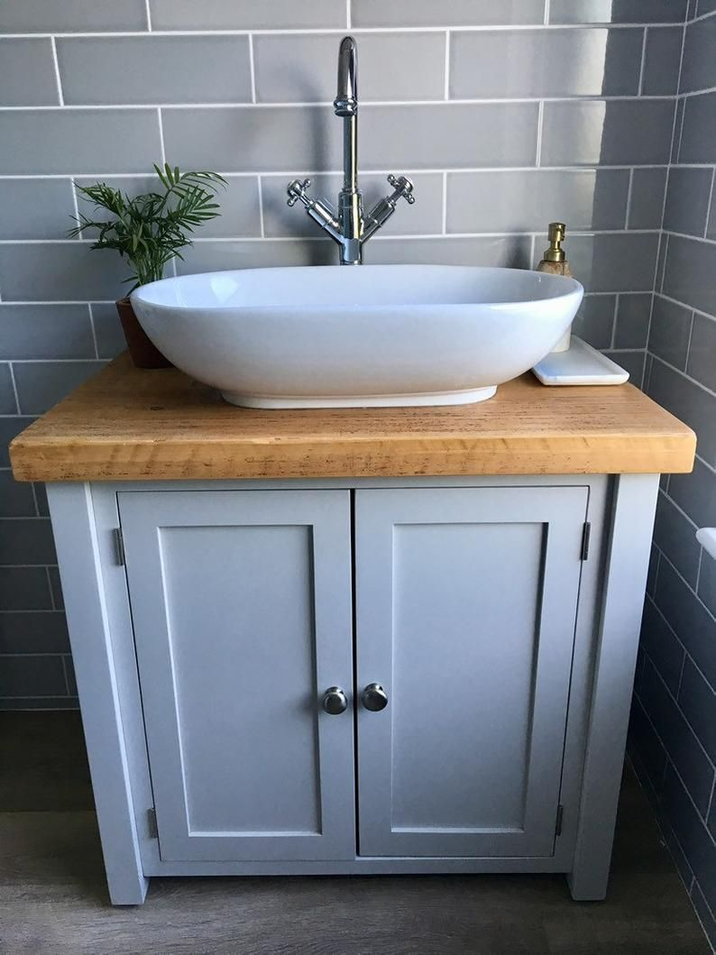 Rustic Chunky Farrow Ball Painted Solid Wood Bathroom Etsy Wood Bathroom Small Bathroom Sinks Sink Vanity Unit