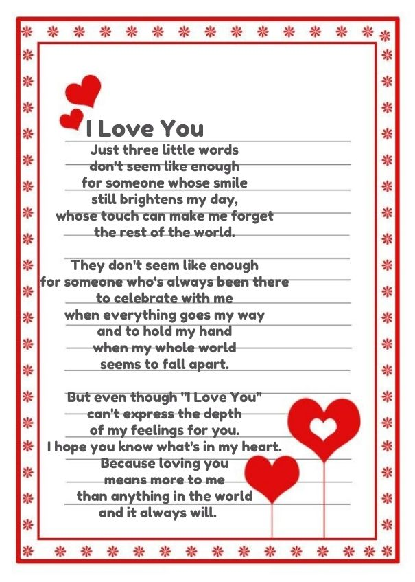 Citaten Love Poem : I love you poems for her cute him