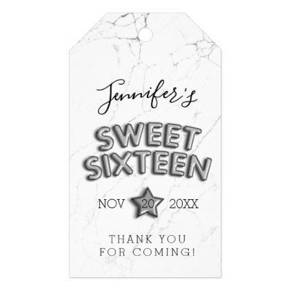Thank You Sweet 16 Silver Birthday Balloons Marble Gift Tags - -