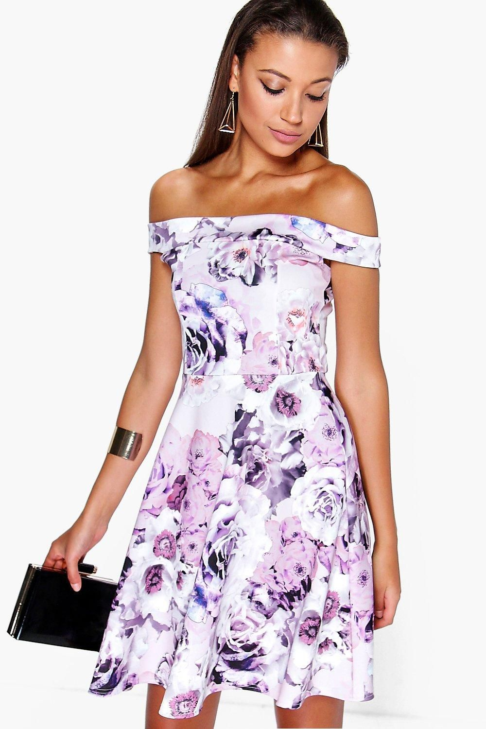 24abb641d3 Tall Mila Off The Shoulder Floral Print Skater Dress