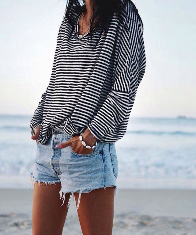 stripes + denim cut offs
