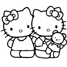 Hello Kitty with gift box Coloring Page in 2020   Hello ...