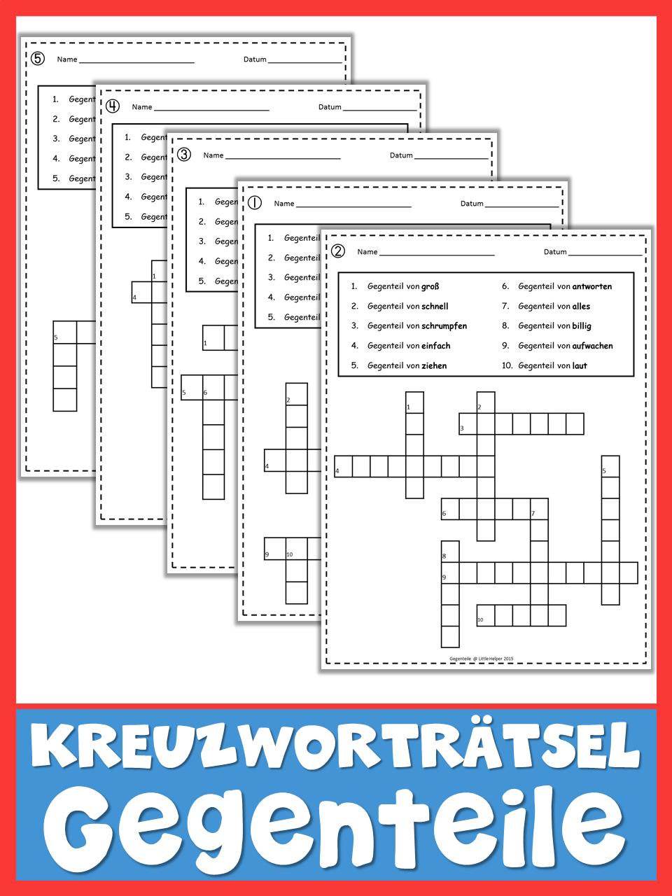 German Opposites Crossword Puzzles Deutsch