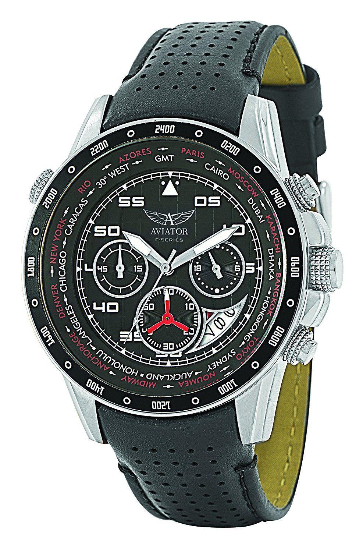 6a2a55c4a 6005 AVIATOR Watch Men's Military Quartz Pilot Chronograph Black Leather  Strap Wristwatch F-Series AVW7770G59