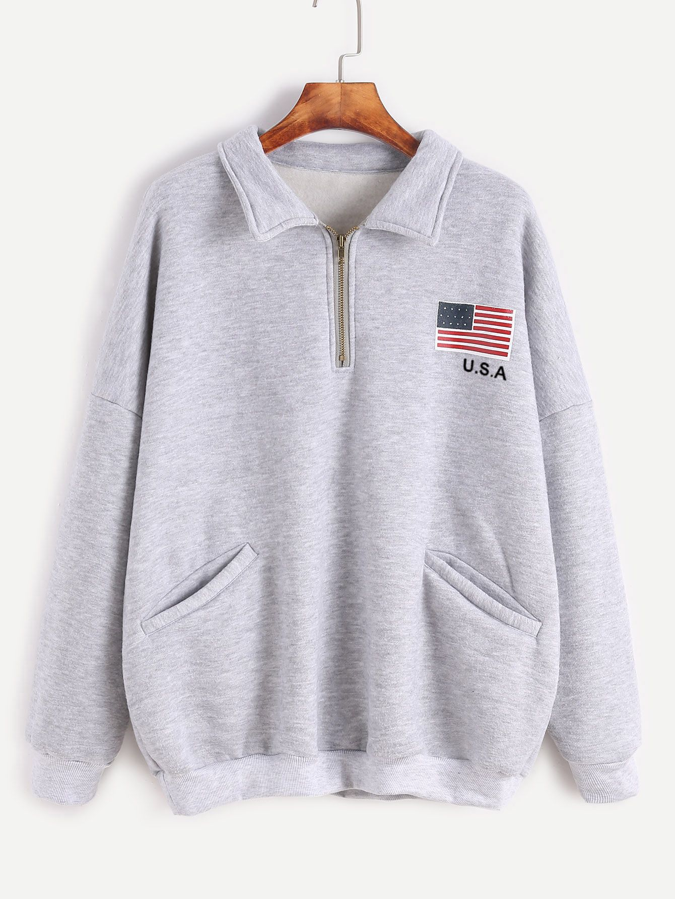 9fab1bf9953f Shop Grey American Flag Print Zip Detail Front Pocket Sweatshirt online.  SheIn offers Grey American Flag Print Zip Detail Front Pocket Sweatshirt &  more to ...