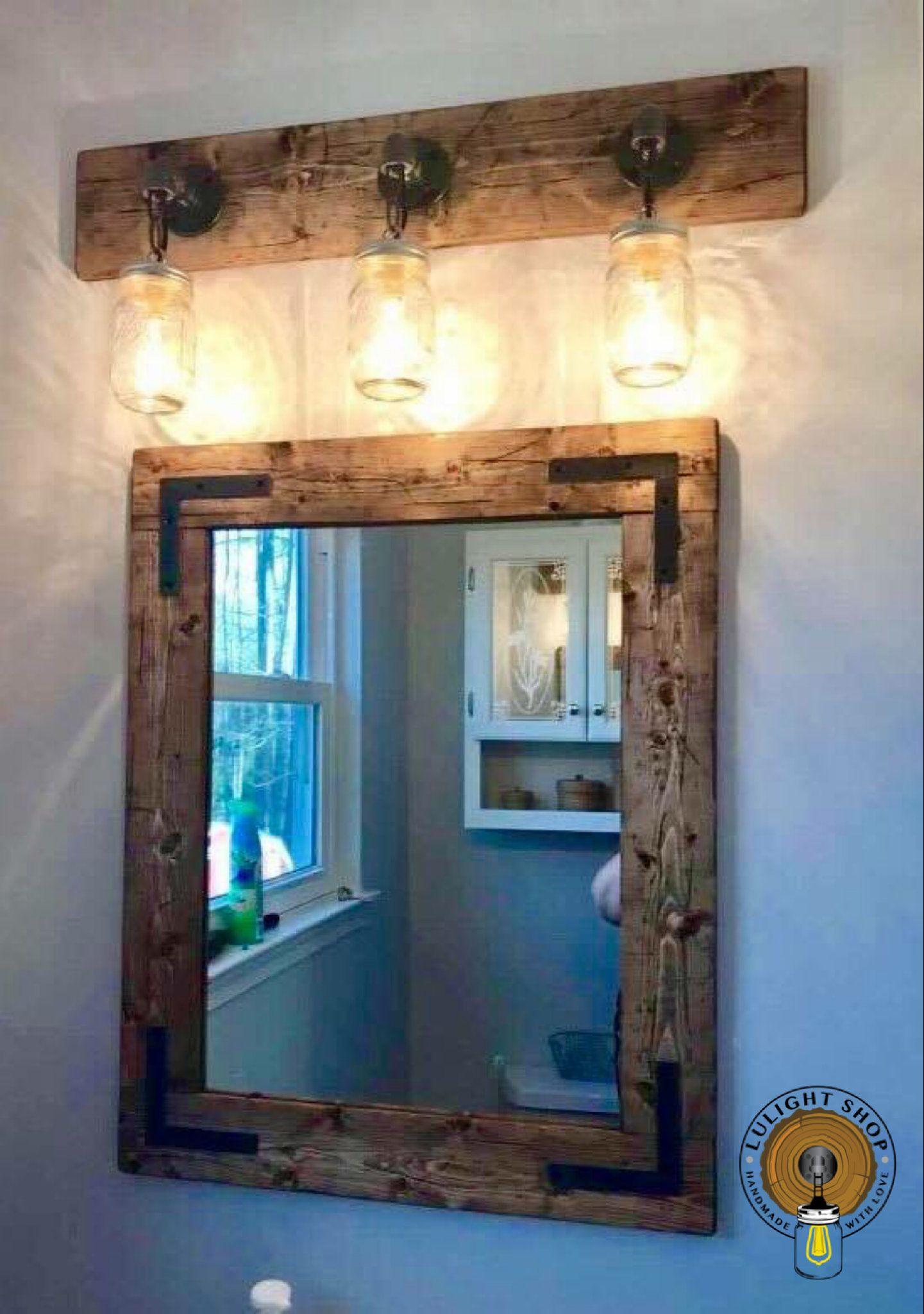Rustic Distressed Bathroom Light Bathroom Decor Light For Bathroom Vanity Mason Jar Light Industrial P In 2020 Farmhouse Mirrors Rustic Bathrooms Diy Vanity Mirror