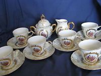 Handpainted Tea/Demi Cups & Saucers Set With Cream and Sugar 8 Piece Set