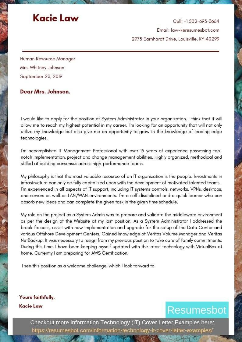 System Administrator Cover Letter Samples & Templates [PDF