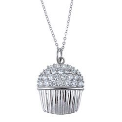 @Overstock - Let her know just how sweet she is with this cubic zirconia necklace featuring a cupcake pendant on a cable chain. Sparkling, bezel-set cubic zirconia and polished sterling silver combine to create a fun piece of jewelry shell love to show off.http://www.overstock.com/Jewelry-Watches/La-Preciosa-Sterling-Silver-Cubic-Zirconia-Cupcake-Necklace/5524309/product.html?CID=214117 $36.99