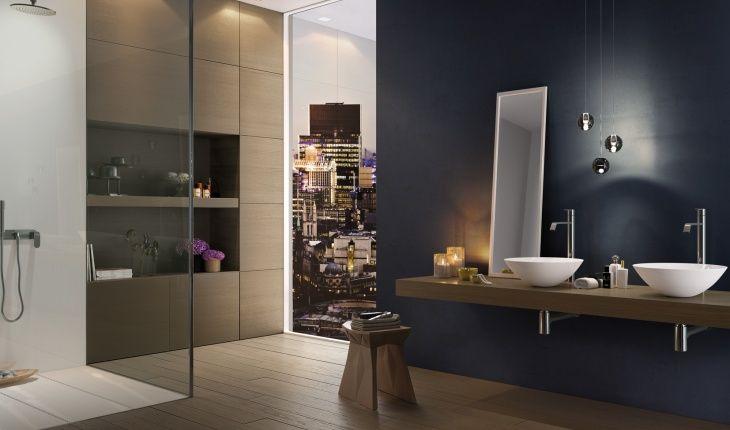 Bagno Boiserie ~ Boiserie moderna in legno per il bagno e mensole finitura rovere