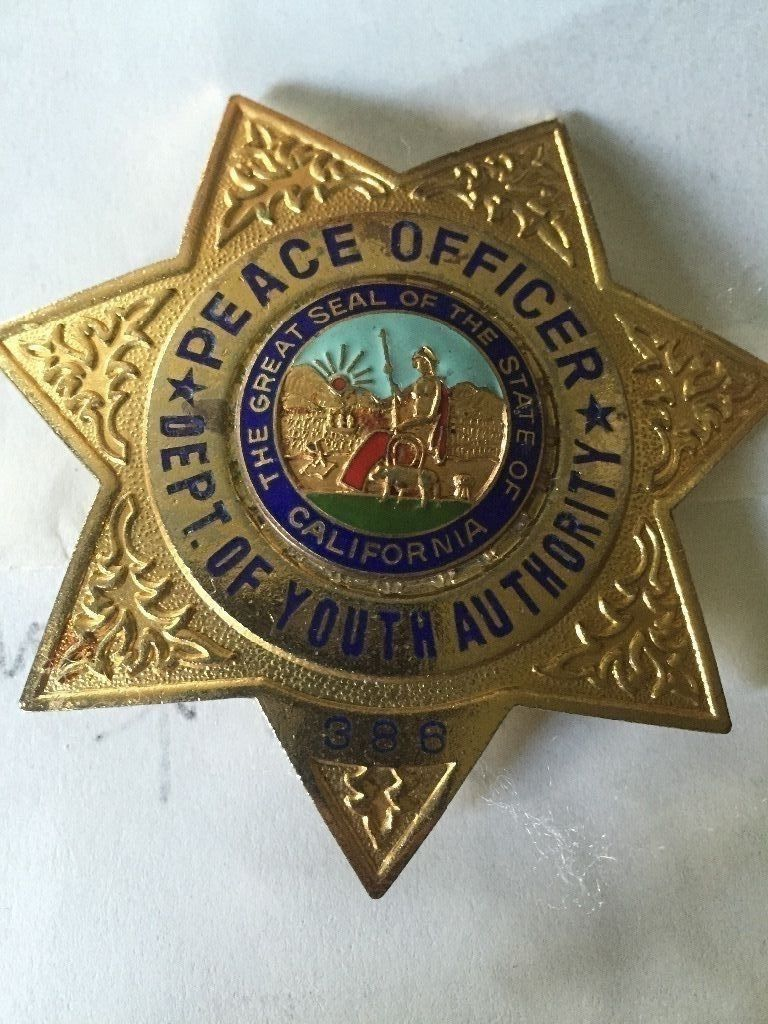 Pease Officer Department Of Youth Authority California Police Officer Badge Police Badge Fire Badge