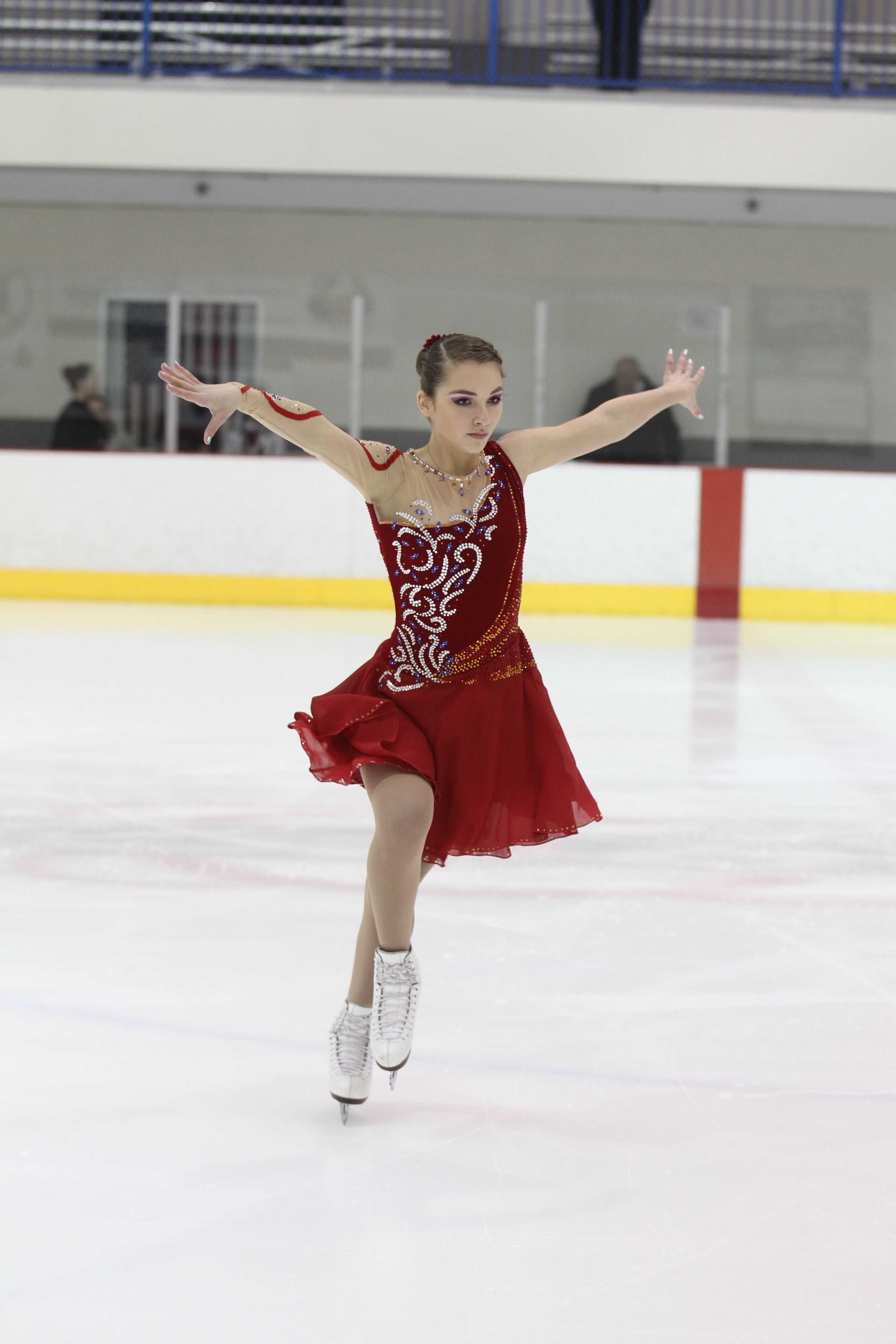 Red Ice Dance Dress With Gold And Blue Rhinestones By Joanie S Skating Boutique Ice Dance Dresses Ice Skating Costumes Skating Dresses