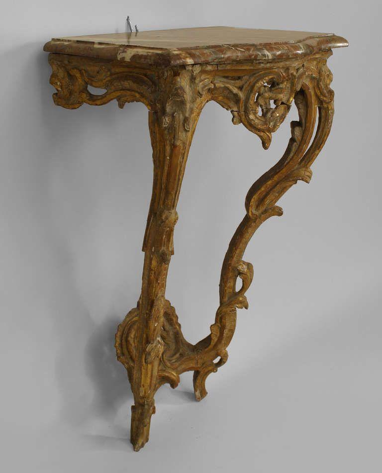 Italian Sofa Brent Cross: 18th C. Italian Rococo Gilt Trimmed Bracket Console Table