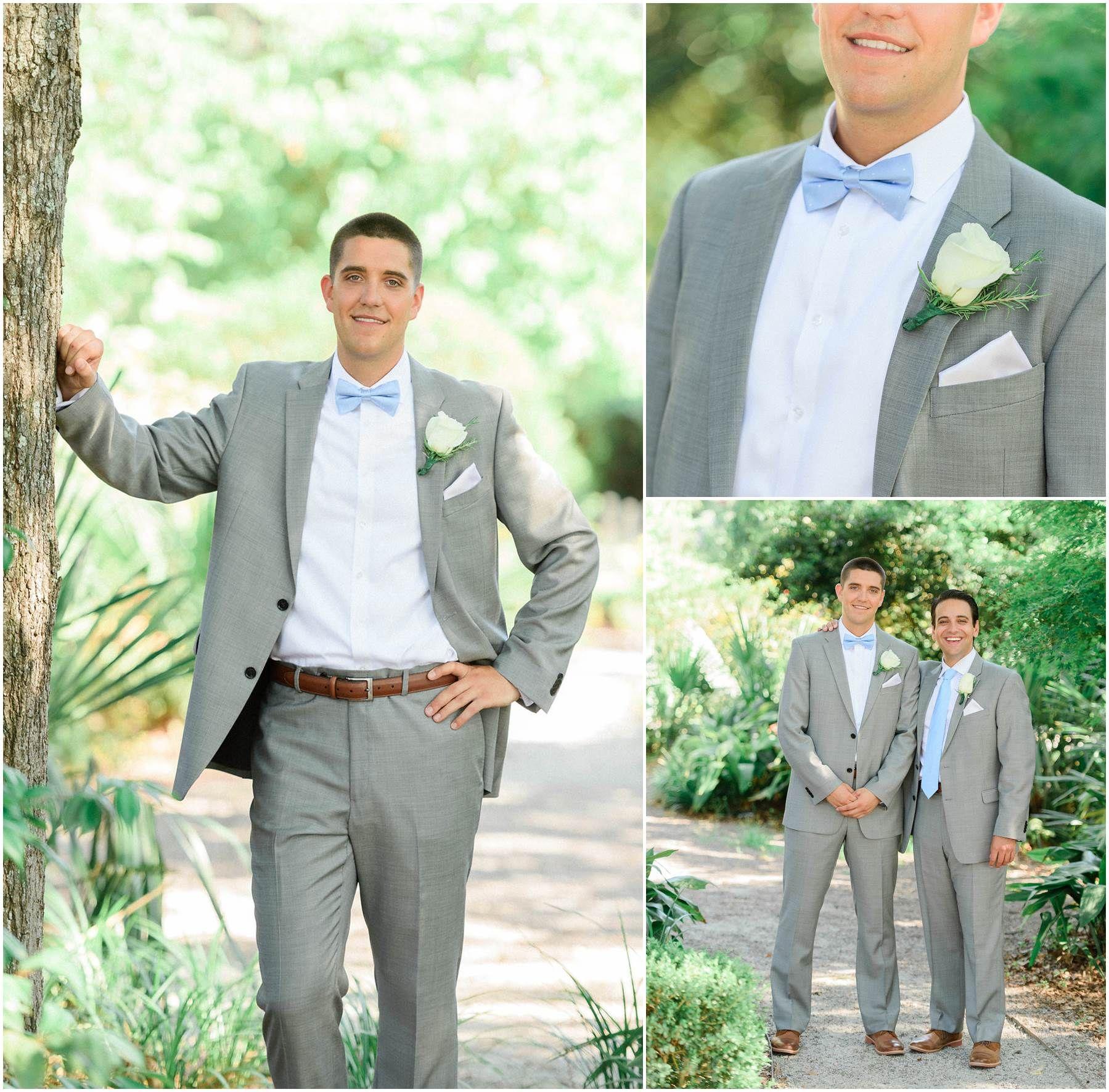 Gray groomsmen suits with brown shoes brown belt baby blue ties