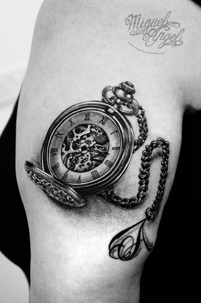 073a047cd Chain Tattoo pocket - watch and letter a on chain tattoo miguel angel .