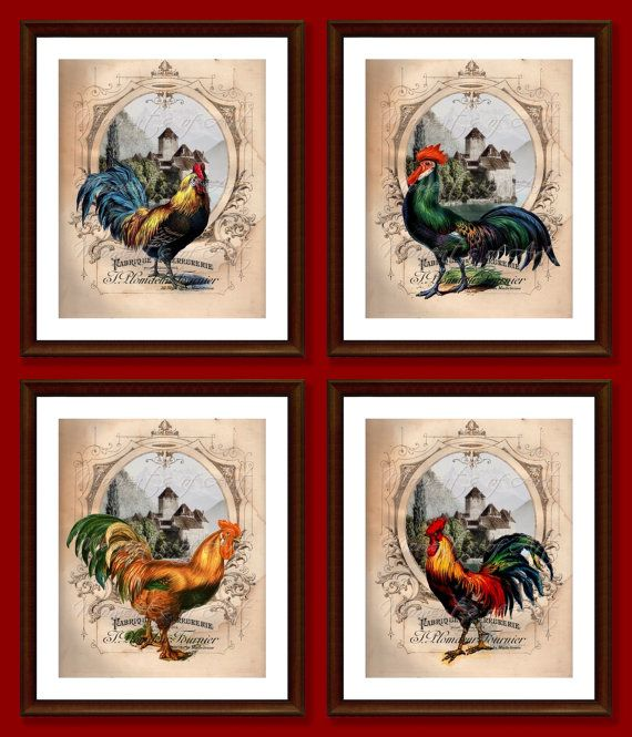 Set Of 4 Rooster Wall Art Prints Kitchen Decor French Etsy Rooster Wall Art Country Rooster French Country Decorating