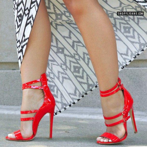 Celebrity brillante rojo azul charol zapatos de mujer sandalias de tacón de  aguja de la cubierta delgada band hebilla correa tacones punta abierta  bombas ... 427509a1213c