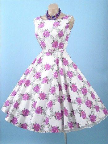 So sweet in lavender~ 1950s Alex Colman Floral Print Swing Dress